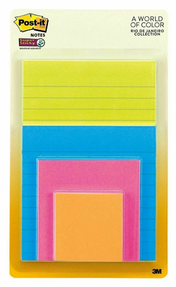 Post-it® Multi-Sized Notes RIO DE JANEIRO Colors 4 Pads Assorted Sizes